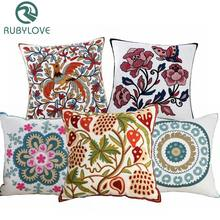High Quality 100% Cotton Embroidery Flower Pattern Sofa Cushion Cover Home Decoration Housewarming Gift Car Throw Pillow Cover(China)