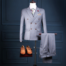 Gentleman Style Promotion Three Pockets Pesked Lapel Double Breasted Three Piece Suits Morning Suits (jacket+pants+vest)