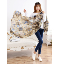 New Spring Retro National Silk Scarf Women High-Grade Fashion Large Size Sexy Leopard Printed Shawl Female Soft Scarves