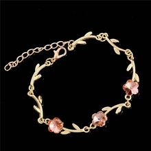 SHUANGR Summer Style Romantic Sweet Flower Bracelet Femme Gold Color Women Wedding Crystal Bracelets Pulseras Fine Jewelry TH275