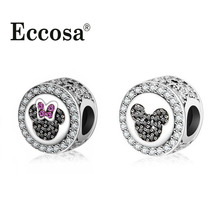 Fit Original Pandora Charms Bracelet Silver Plated Pave Clear CZ Minnie Mickey Charm Bead DIY Jewelry Making Berloque