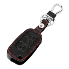 Leather Car Key Case For Volkswagen Jetta MK6 Tiguan Passat Golf POLO CC Bora Car Remote Control Key Cover Keychain