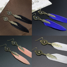 Women's Vintage Hollow Wheel Feather Pendant Eardrop Dangle Earrings Jewelry