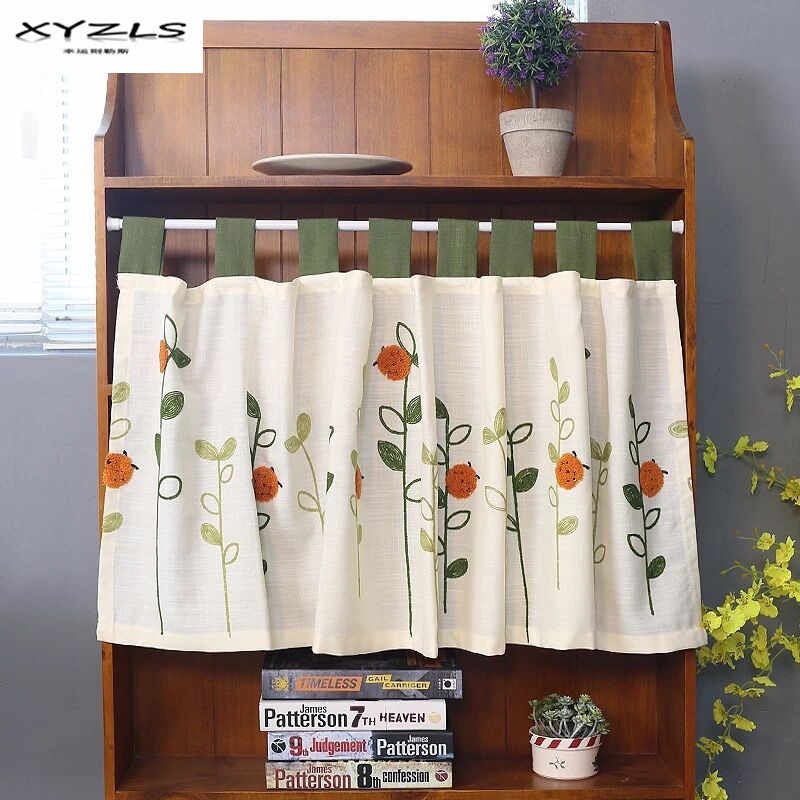 XYZLS Pastoral Style Ladybugs Embroidered Kitchen Half-curtain Kitchen Curtain Cafe Short Panel Curtain 1 Piece