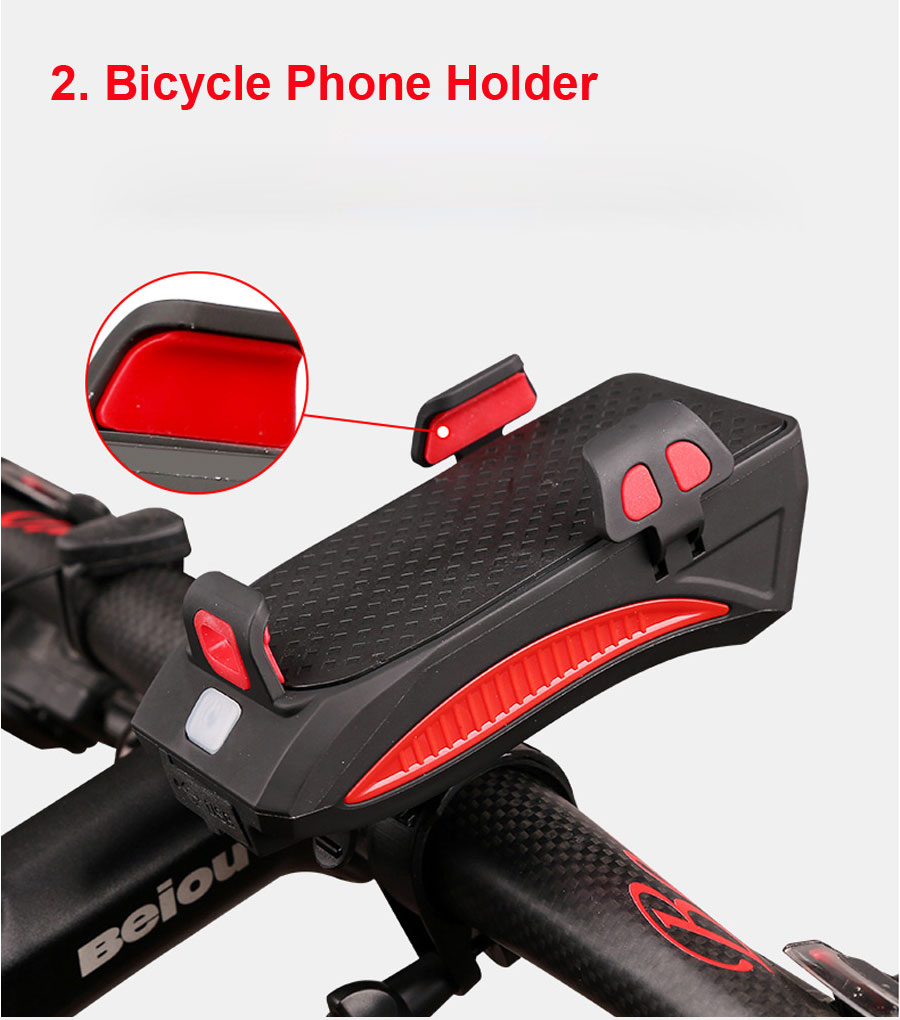 Cheap NEWBOLER 4 in 1 Bicycle Light Power Bank 4000mAh Flashlight Bike Horn Alarm Bell Phone Holder Bike Accessories Cycle Front Light 4
