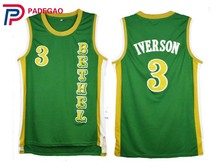 2018 Embroidery Stitched Throwback Basketball Jerseys Allen Iverson Bethel High School White green Basketball Jersey Reto shirt(China)
