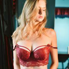 Buy Shaonvmeiwu Autumn winter women's new sexy lace thick underwear comfortable gather bra red temptation