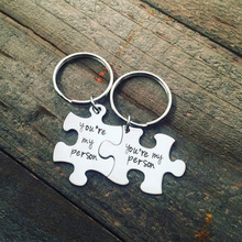 Hot Areke Stainless Steel You Are My Person Best Friend Carved Puzzle Keychains for Couple 2Pcs Perfect Gift(China)