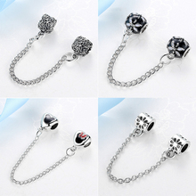 New Silver Plated Bead Charm Vintage Love Heart Lock Safety Chain Beads Fit Women Pandora Bracelet & bangle DIY jewelry(China)