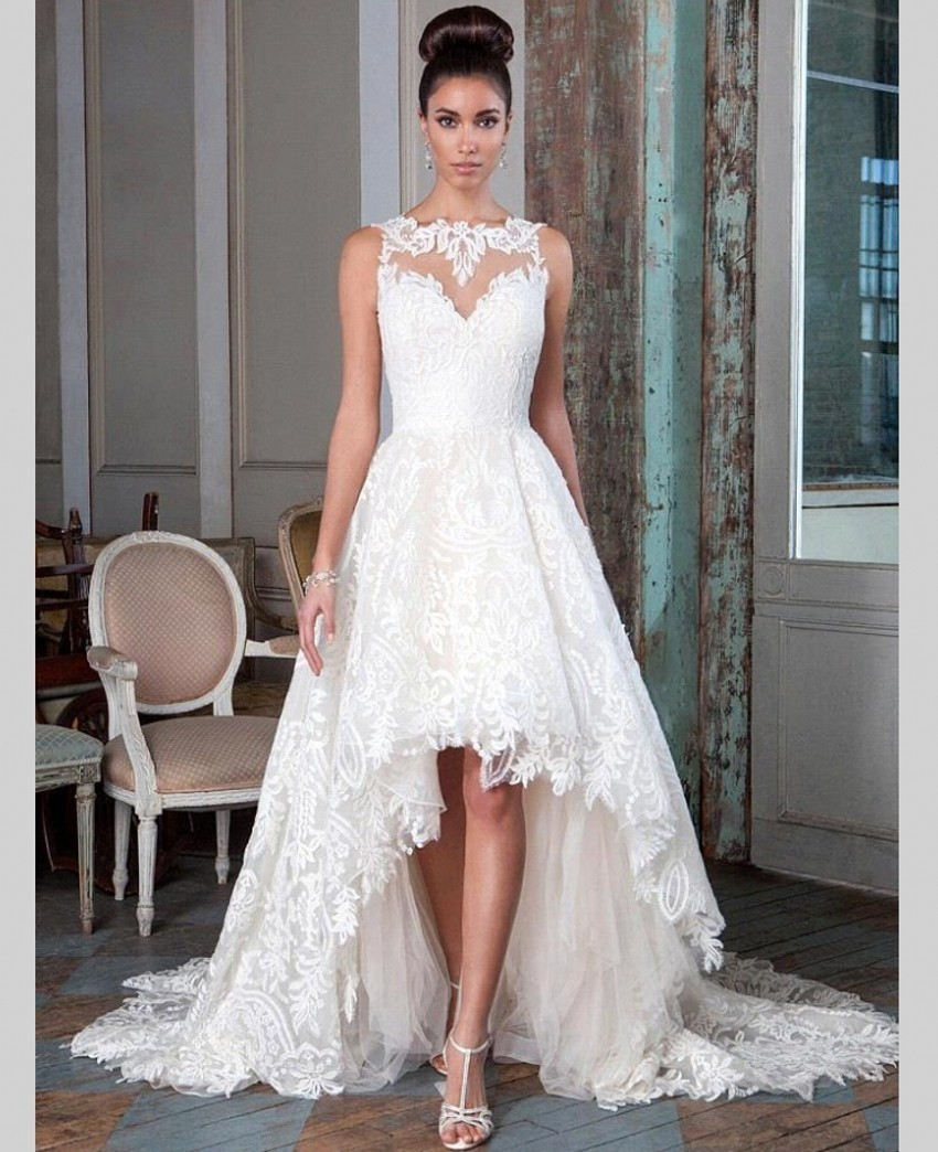 10 Sexy Lace Backless High Low Wedding Dresses 2016 Short Front Long Back Wedding Gown Bridal Bride Dress Custom Made (1)