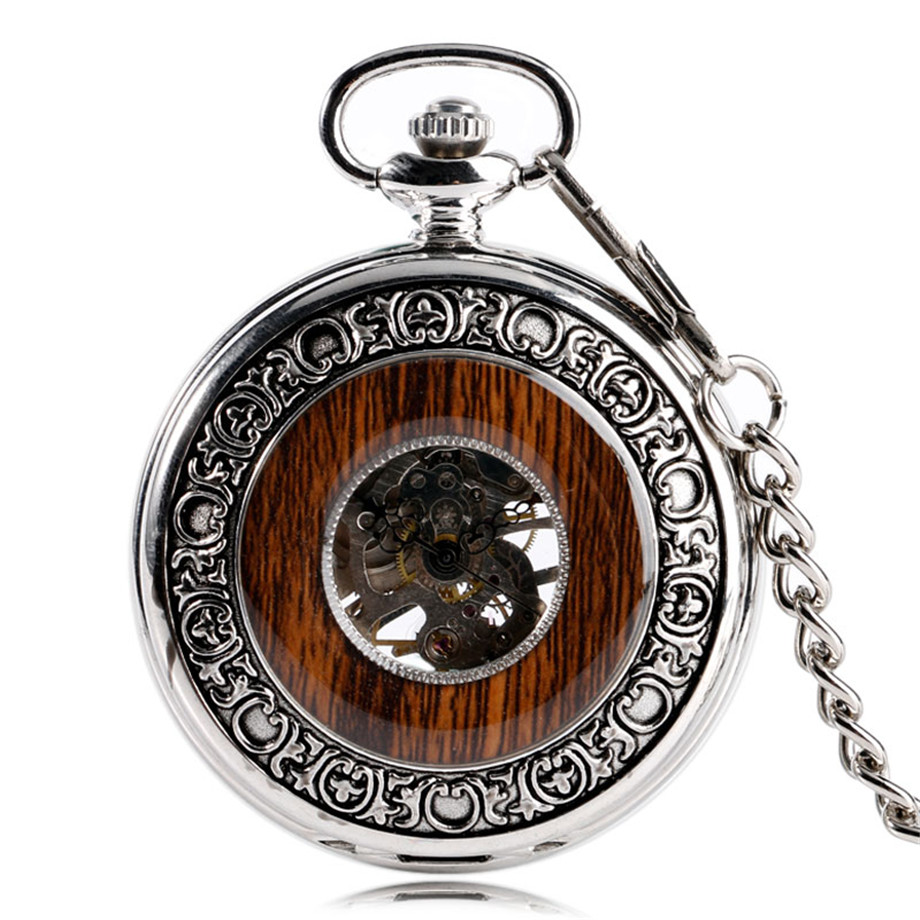 Vintage Wood Mechanical Pocket Watch Roman Numerals Creative Carving Flower Dial Wooden Watches Pendant Chain Women Men Gifts (1)