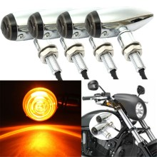 4 pcs Chrome Bullet Motorcycle Turn Signal Indicator Light Lamp For Harley /Bobber /Chopper 10mm