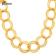 Buy Accessories Vintage Necklace Big yellow Gold color Figaro Chunky Chains yellow Stamp Statement Necklace Wholesale N104G for $8.49 in AliExpress store