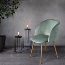 EGGREE Mid-Century Velvet Accent Living Room ArmChair Club Chair with Solid Steel Leg Dining Room Chair
