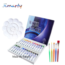 24/12colors set watercolor paint  gouache paint set 12ml per tube Professional Art set enrichment with palette and paint brushes