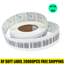 20000pcs/lot 8.2mhz EAS RF soft label for supermarket alarm gate rf security soft tag checkpoint 40*40mm free shipping(China)