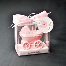 Free shipping 20pcs/lot pink or blue baby carriage cupcake scented candles baby shower