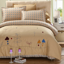 100 Cotton Garden Bedding Set Light Brown Bed Sheets Embroidered Duvet Cover Queen Comforter Sets King Cotton Bed Linen(China)