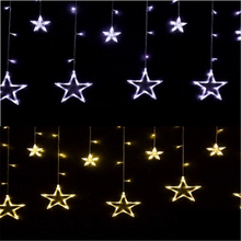 2M Light String Pentagram Star Curtain Lamp Glitter Star Wedding Birthday Christmas Day Lights Wedding Party Holiday Decorations(China)