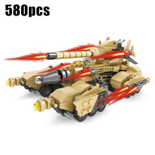 580pcs 16 in 1 Military Vehicle Building Blocks Bricks Compatible Legoe Brinquedos Educational Toys For Children Christmas Gift(China)