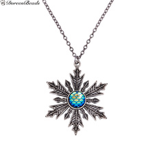 DoreenBeads Handmade Druzy Fish /Dragon Scale Necklace Link Cable Chain Christmas Snowflake Blue AB Color Fish Scale 56cm, 1 PC