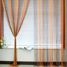 Romantic Window Wall Panel Room Divider Strip Tassel Line String Curtain Candy Color