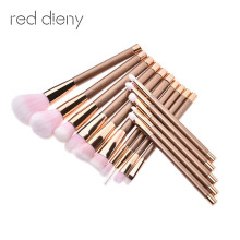 Fashion Rose Gold 15pcs Pro Makeup Brushes Set Contour Powder Eyeshadow Lip Blush Foundation Powder Kabuki Brush Set(China)