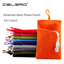 Universal Fabric Phone Pouch Case Soft Velvet Smartphone Pocket Bag 5.5'' 5.0'' 4.3'' for iPhone 7 6S 6 Plus SE 5S 5 5C 4S 4(China)