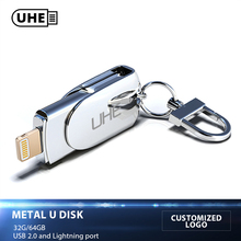 Buy UHE Customized Logo FLASH DRIVE USB 2.0 32GB 64GB Lightning Metal Pen Drive U Disk IOS 8.2 memory stick iPhone iPAD for $27.44 in AliExpress store