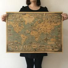Vintage World Map Great Building Retro Maps Kraft Paper Poster Paint vintage Wall Sticker Art Crafts Maps bar cafe Decor 67x51cm(China)