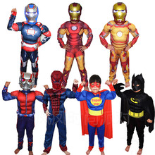 spiderman superman muscle halloween costumes for kids superhero capes anime cosplay carnival avengers girls fancy dress boys(China)