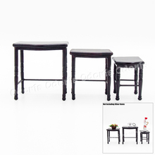 Odoria 1:12 Miniature 3PCS Console Hall Table Winered Shelf Dollhouse Furniture Accessories(China)