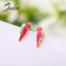 JOOLIM Jewelry Wholesale/Free Shipping Fashion Cute Crystal  Red Bird Stud Earring
