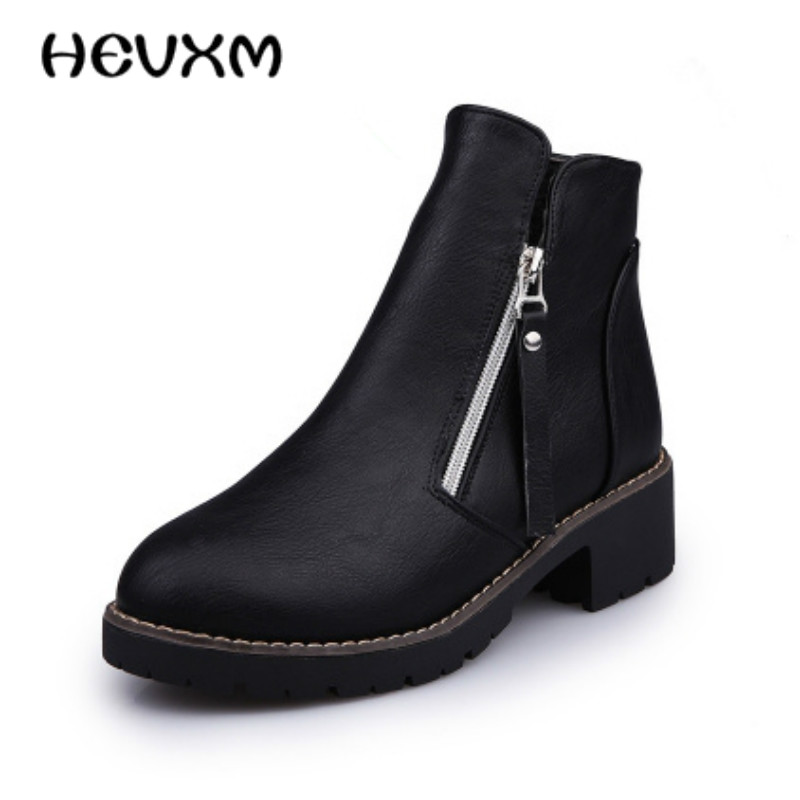 2017 Korean version of the new womens fashion side zipper boots single ladies fashion boots Duantong Martin boots Free shipping<br><br>Aliexpress
