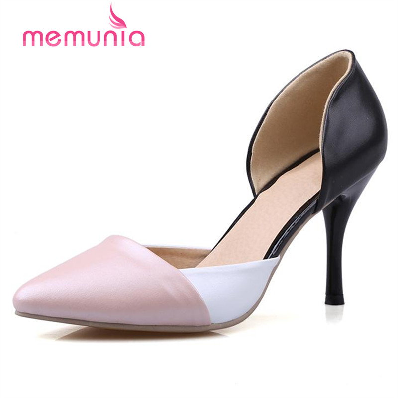 MEMUNIA Two-piece shoes women pointed toe genuine leather shoes pumps big size 33-43 mixed colors summer high heels elegant <br>