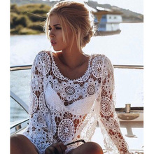 MOONIGHT Hollow Out White Lace Dress Women Long Sleeve Sexy Dress Party Beach Dresses Vestidos