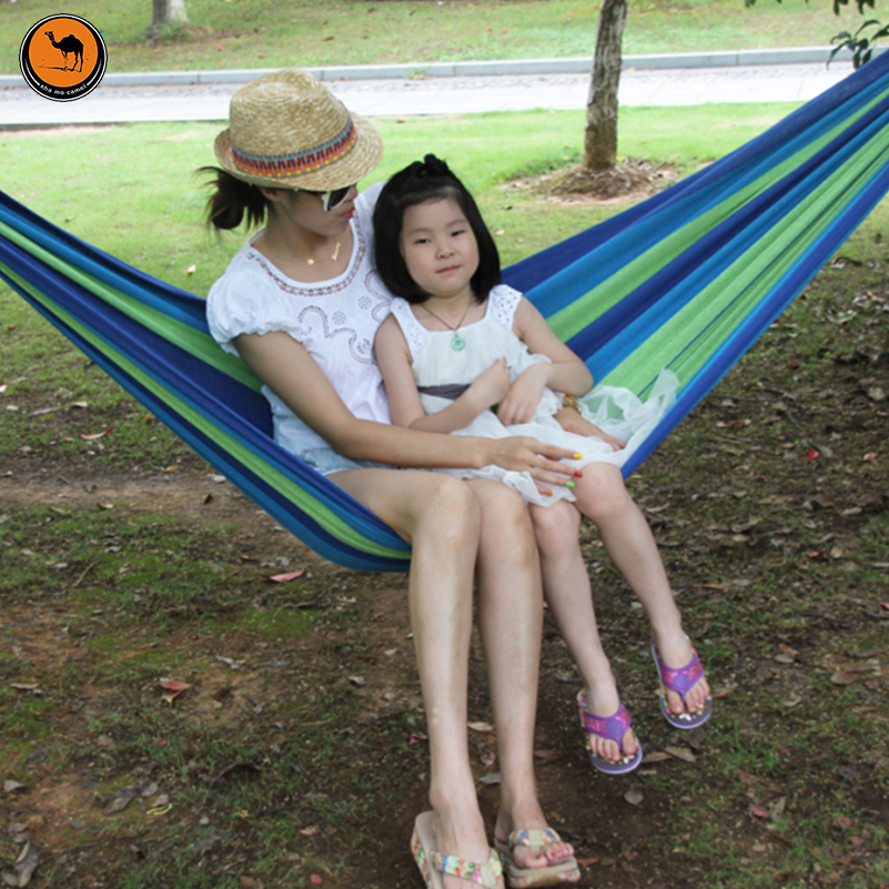 High Strength Portable Hammock 200*100cm Backpacking Hiking Woven Cotton Fabric Tender Green Striped Camping Furniture<br>