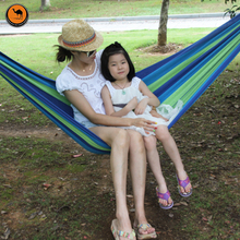 High Strength Portable Hammock 200*100cm Backpacking Hiking Woven Cotton Fabric Tender Green Striped Camping Furniture(China)