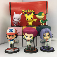 NEW hot 7-9cm Ash Ketchum Pikachu Team Rocket James jesse collectors action figure toys Christmas gift doll
