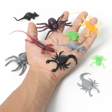 8pcs/6pcs soft plastic toy mini animal model toy,colorful insects fish spider Simulation animal 6styles for kid prank play toys(China)