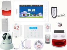 Customized 7 inch Touch screen 868mhz gsm alarm system+surveillance IP camera+Solar siren for home security WIFI alarm system(China)