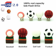 Football Usb Flash Drive 32GB 16GB 8GB 4GB BaseBall Pen Drive Memory Flash Stick Golf Ball U Disk real capacity Basketball