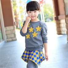 Children Autumn Winter Plaid Flowers Sweet Sports Casual Suits Kids Clothes Girls Tops + Pant Skirt Outfit Girls Clothing Sets(China)