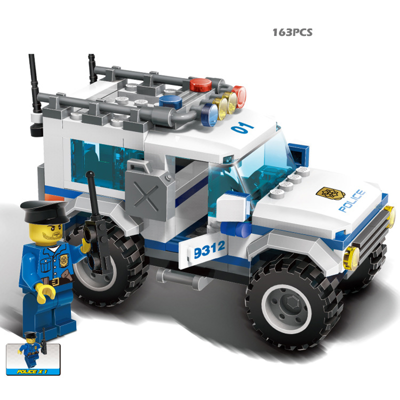163pcs SUV Car Building Blocks Sets Educational DIY Construction Bricks Kids toys Compatible With Legoe city Policemens<br><br>Aliexpress