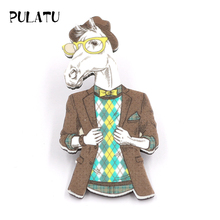 PULATU Cartoon Brooches Handsome Uncle Horse Acrylic Boys and Girls Bag Sweater Coat Brooch Fashion Jewelry Birthday Gift XZ0890(China)