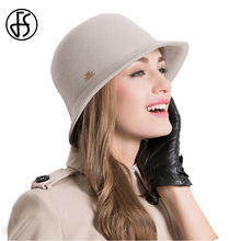 FS Elegant 100% Wool Felt Fedora Hats For Women Winter Gray Rose Vintage 2017 Ladies Curl Brim Floppy Cloche Hats Sombrero Muje(China)