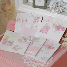Pink Greeting Cards for friend,valentine,family,birthday cards creative handmade cards(China)