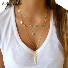 Meetcute New Ethnic Style Gold Link Chain Tassel Necklace Summer Charming Neck Jewelry Beach Party Collar Chain