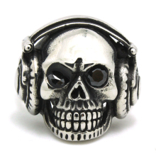 New! Ghost Skull Crystal Eye Ring 316L Stainless Steel Top Quality Fashion Silver Men Boys Earphone Skull Ring