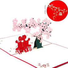 1Pc 3D Paper Laser Cut Carving Sakura Lover PostCard Greeting Cards Party Invitation Card Birthday Girlfriend